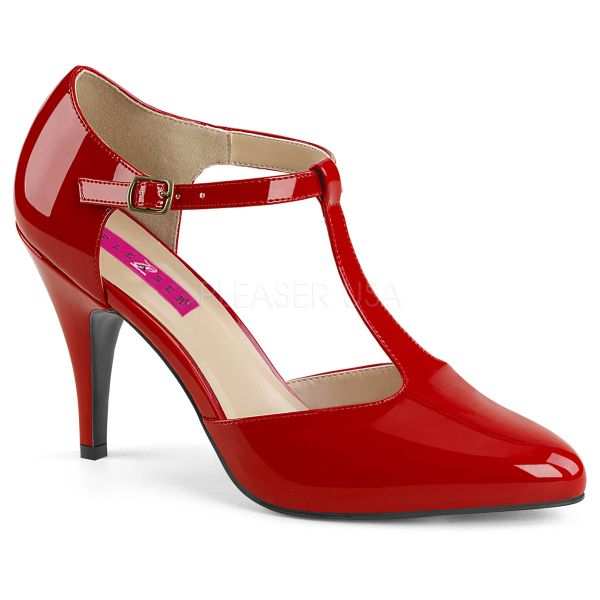 Klassische T-Strap Pumps rot Lack DREAM-425